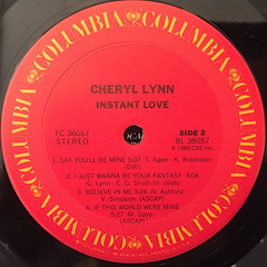 CHERYL LYNN:INSTANT LOVE(LABEL SDIE-B)