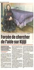 Article dans le journal de Montréal Jan 2017 - Forcée de chercher de l'aide sur Kijiji