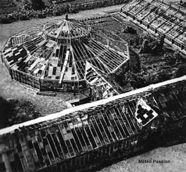 serres du jardin des plantes de Strasbourg détruites, après l'orage de grêle du 11 août 1958 météopassion