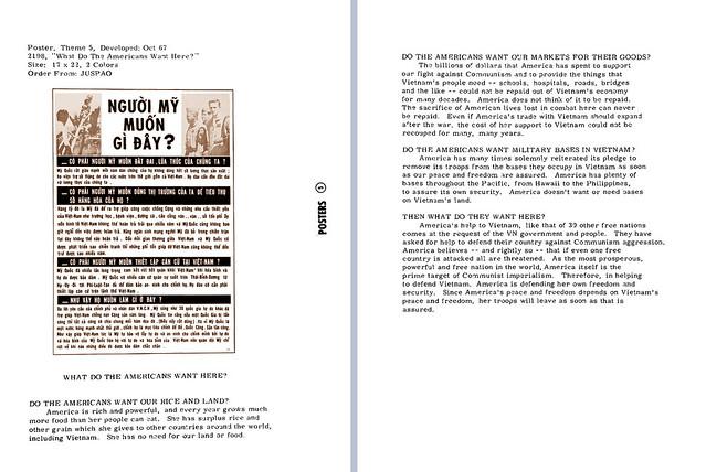 Propaganda Poster 1967 - What  Do The  Americans  Want  Here ?  NGƯỜI MỸ MUỐN GÌ Ở ĐÂY?