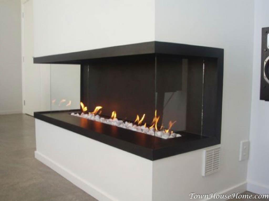 Three-sided gas fireplace