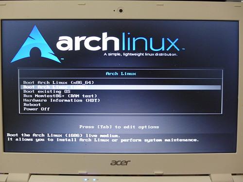 Acer Chromebook 執行 Archlinux  開機