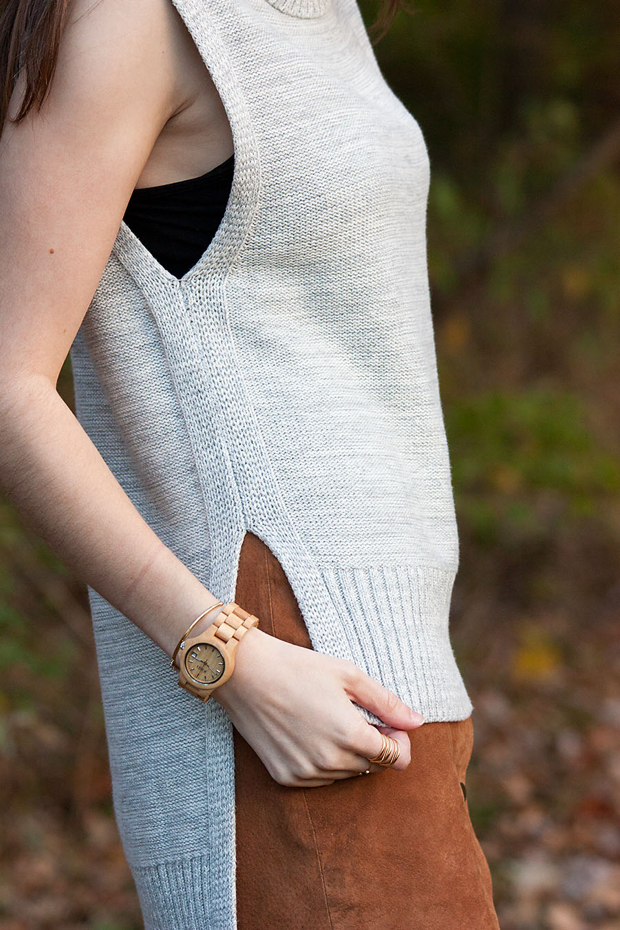 Grey Side Slit Sweater, Suede Skirt, Jord Wood Watch