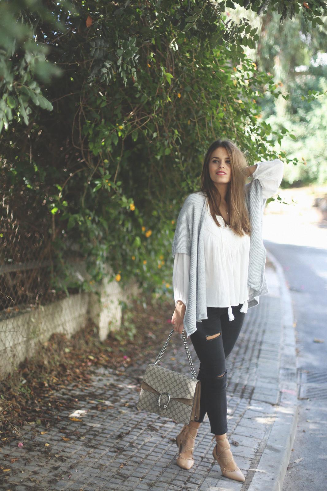7. jessie chanes - grey poncho white boho blouse