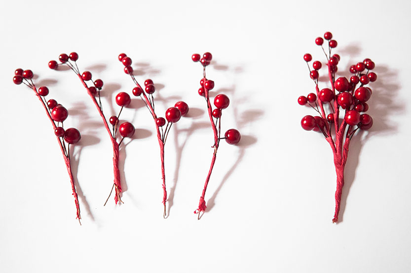 Separar las ramitas que componen los racimos rojos