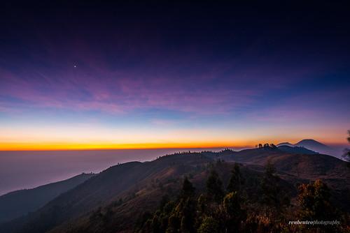 morning trees mountain clouds sunrise indonesia volcano climb java heaven hill javanese diengplateau centraljava dieng wonosobo diengvolcanocomplex