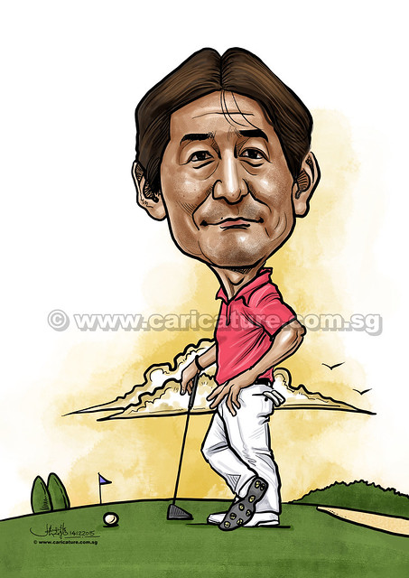 Golfer digital caricature for Mastercard