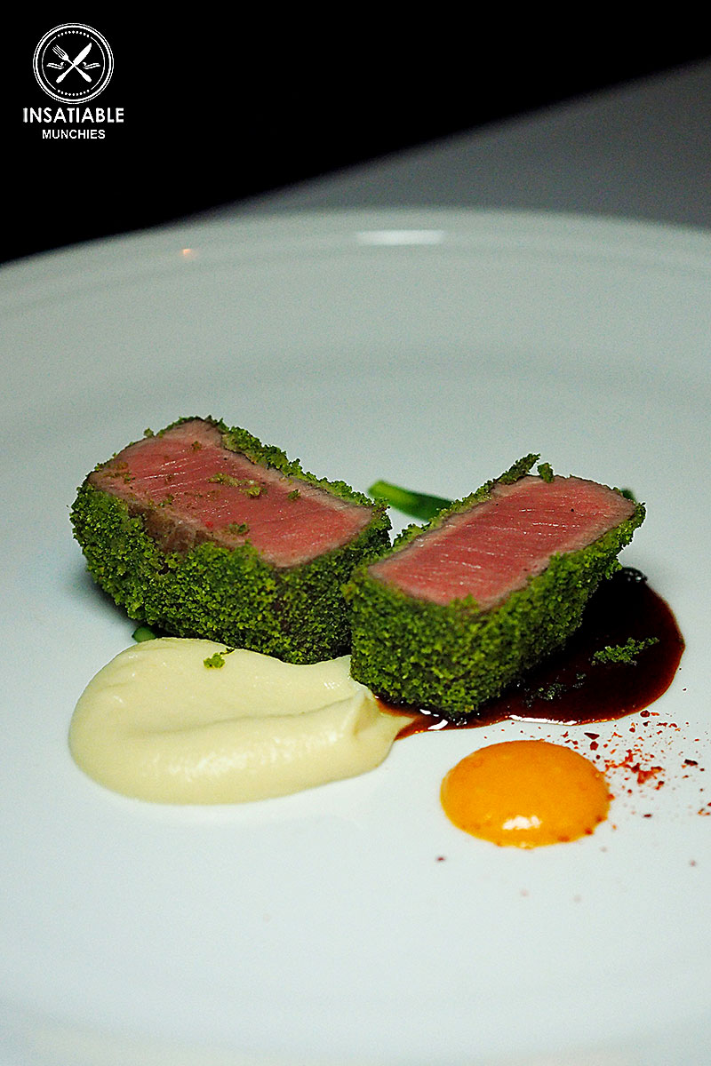 Pan Seared Loin of Lamb, with Herb Crust and Cauliflower Purée: Ananas, The Rocks. Sydney Food Blog Review