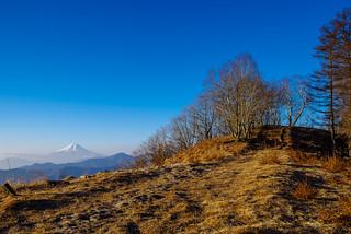 富士を眺め日蔭名栗山への稜線行く