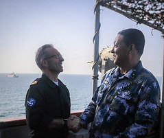 EUNAVFOR FCdr welcomes Chinese RAdmiral on board ESPS Galicia