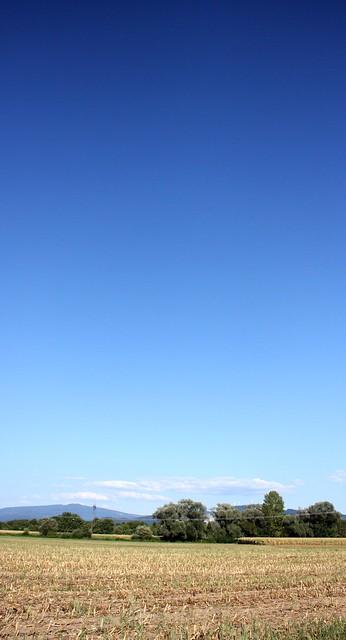 Late summer blue sky