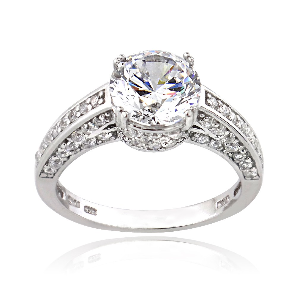 platinum plated sterling silver 100 facets cubic zirconia