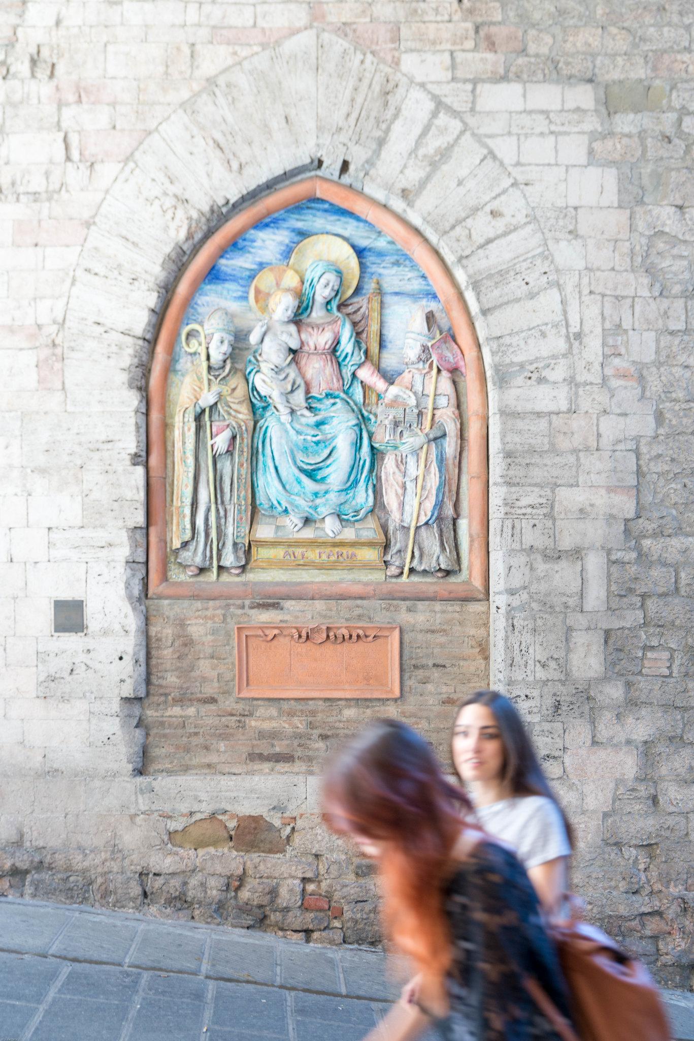 Art works hidden around the corner in Perugia Italy