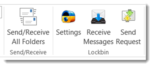 Screen shot showing the icons of the Lockbin toolbar in Outlook 2013.  The icons are titled: Settings, Receive Messages, and Send Request