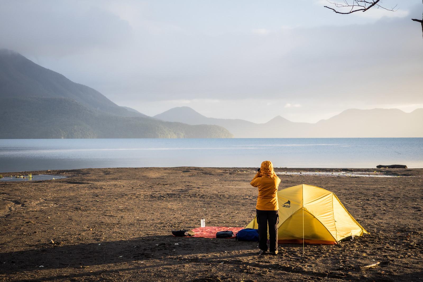 Camping at the Bifue Campground on Lake Shikotsu, Hokkaido, Japan