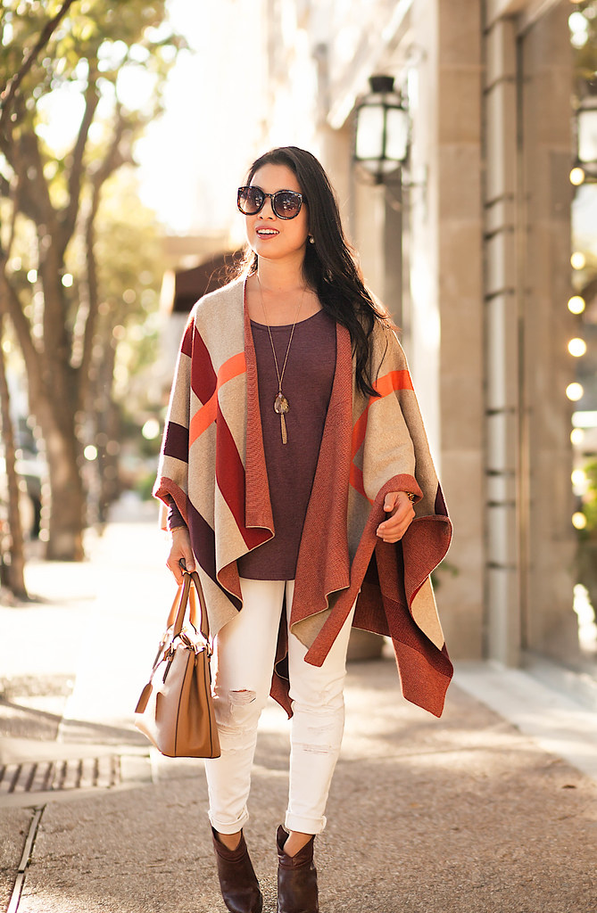 cute & little blog | petite fashion | plaid cape, marsala top, white jeans, marsala boots, tory burch mini robinson | fall winter outfit