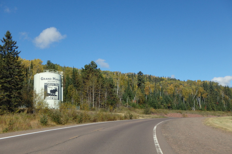 curve in the road next to the Grand Marais / Gunflint Trail water tower