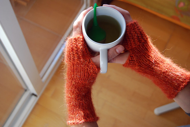 handknitted fingerless mitts