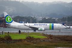 Sun Country's latest plane, formerly Transavia, Boeing 737 -800 -8K2, PH-HZG. Nice stripes! DSC_0659