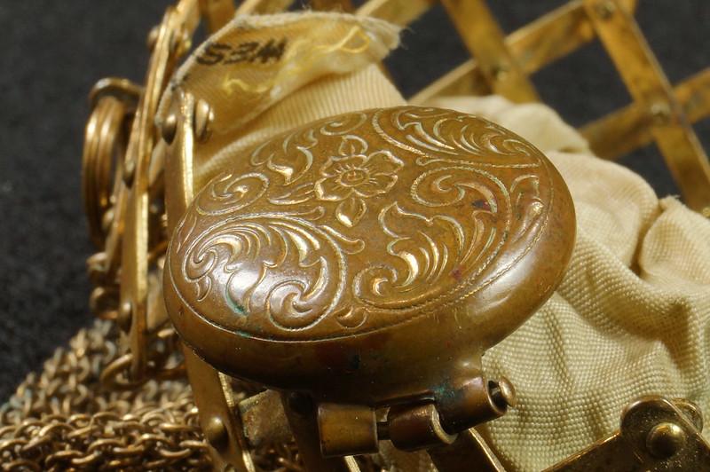 RD9267 Vintage West Germany Brass Expanding Ladies Mesh Link Purse Handbag DSC07895