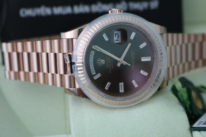 Nhận đặt hàng đồng hồ rolex day date 6 số 228235 – Vàng hồng 18k – Mặt xoàn dài – size 40mm – New 100%