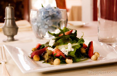 Summer salad, goat cheese, strawberries, roasted h…