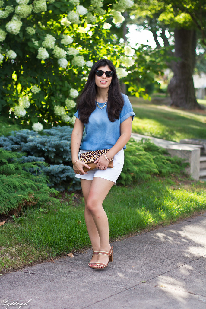 chambray tee shirt, white shorts, leopard clutch-2.jpg