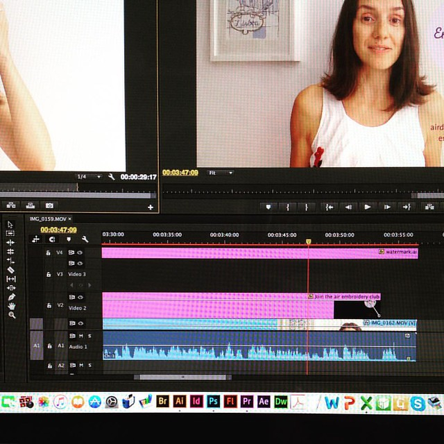 This week I've been editing the video lessons of the #embroidery e-course I'm preparing to launch at the end of the month. Registrations are open at http://www.airdesignstudio.com/embroidery-e-course/ #airembroideryclub