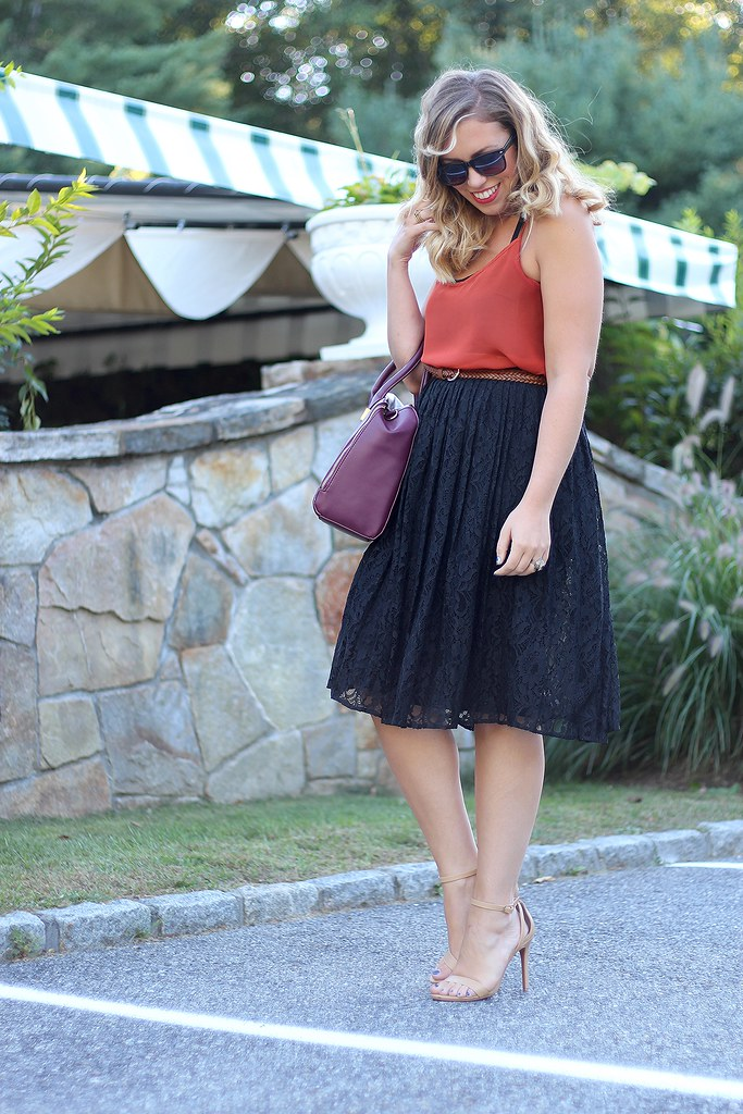 Burnt Orange Tank Black Lace Midi Skirt | Early Fall Fashion Halloween