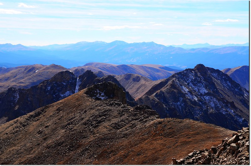Looking southwest from Pettingell's summit, Quandary Peak et al. 14ers are in the distance