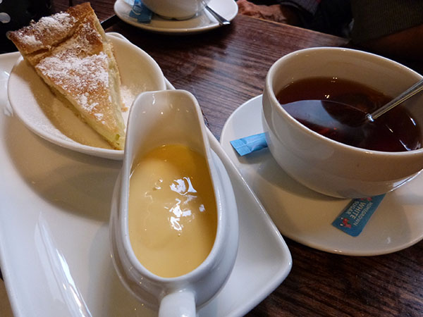 tea, apple pie and hot custard