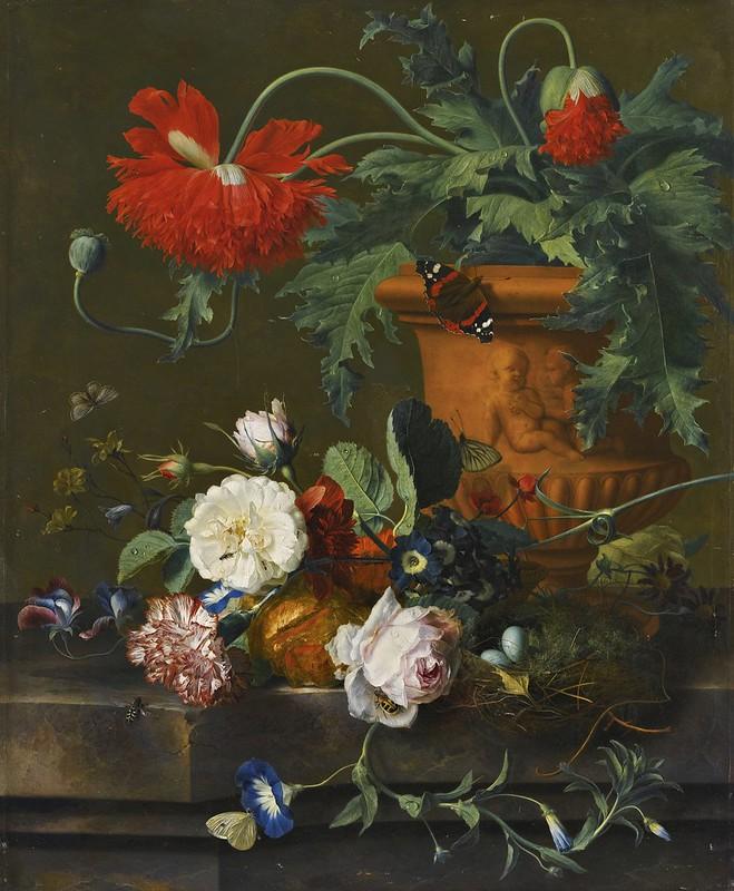 Jan van Huijsum - A still life of poppies