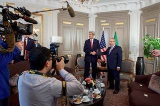 Secretary Kerry Shakes Hands With Algerian Foreign Minister Lamamra Before Bilateral Meeting on Sidelines of COP21 Climate Change Conference in Paris
