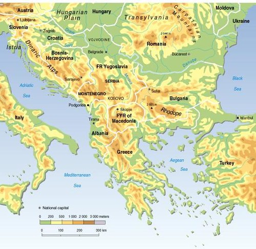 Balkans Topographic And Political Map Grid Arendal