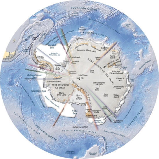 Antarctica, topography and bathymetry (topographic map ...