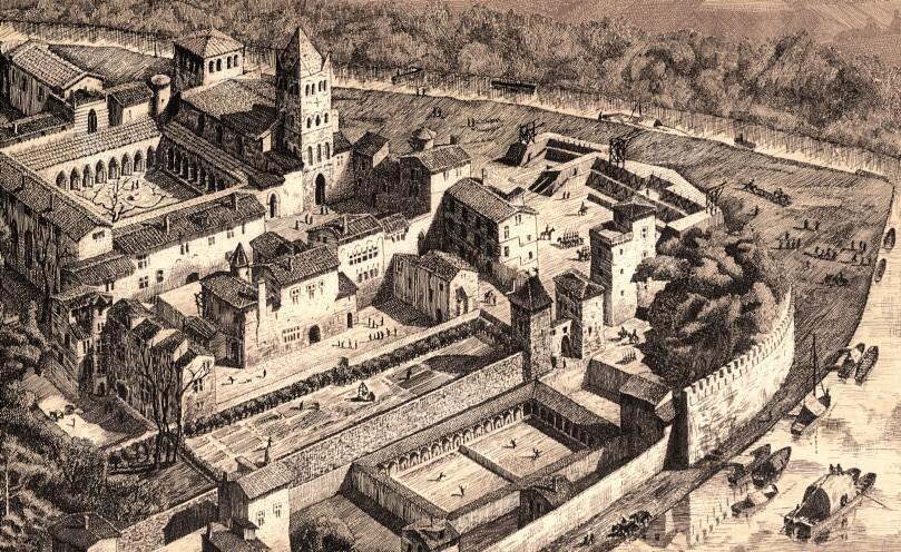 Abbaye d'Ainay à Lyon au fait de sa puissance sur une illustration moderne.