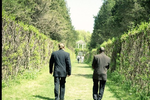 backs of men walking
