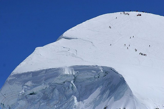 Breithorn being climbed - 4,164 metres (13,661 feet)