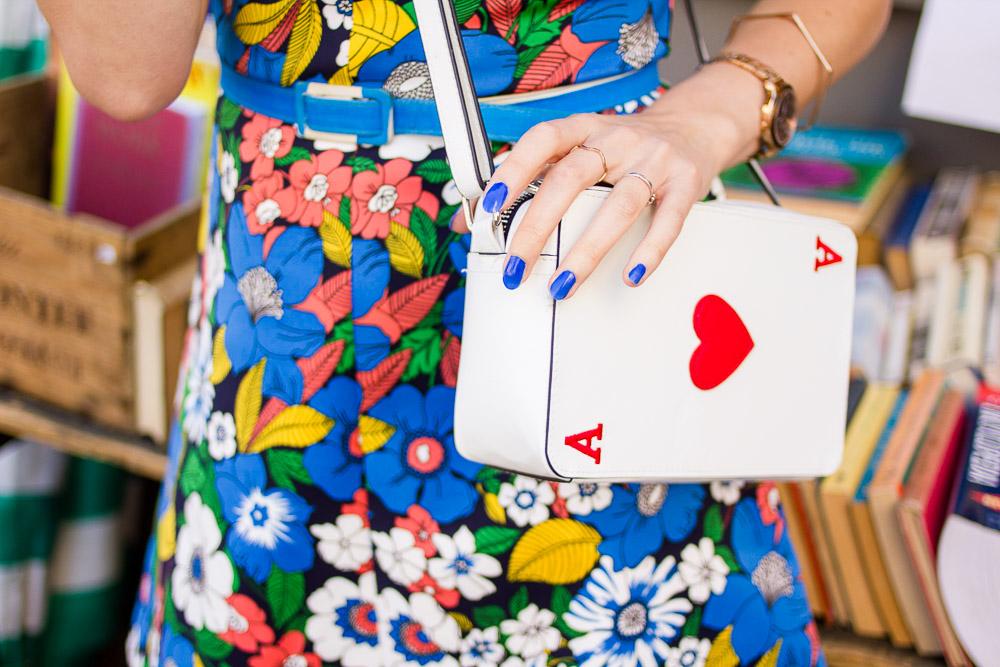 asos floral a-line dress outfit ace card novelty bag