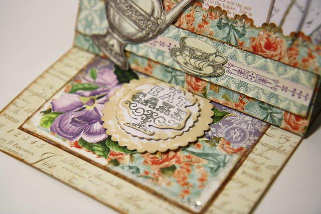 Eat cake stamp closeup Botanical Tea card by StickerKitten