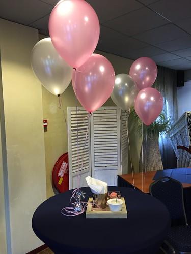 Tafeldecoratie 3ballonnen Hotel van Marion Oostvoorne
