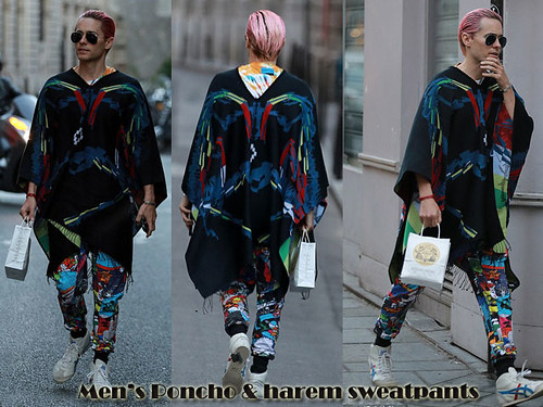Men's Technicolor/rainbow poncho & harem sweatpants
