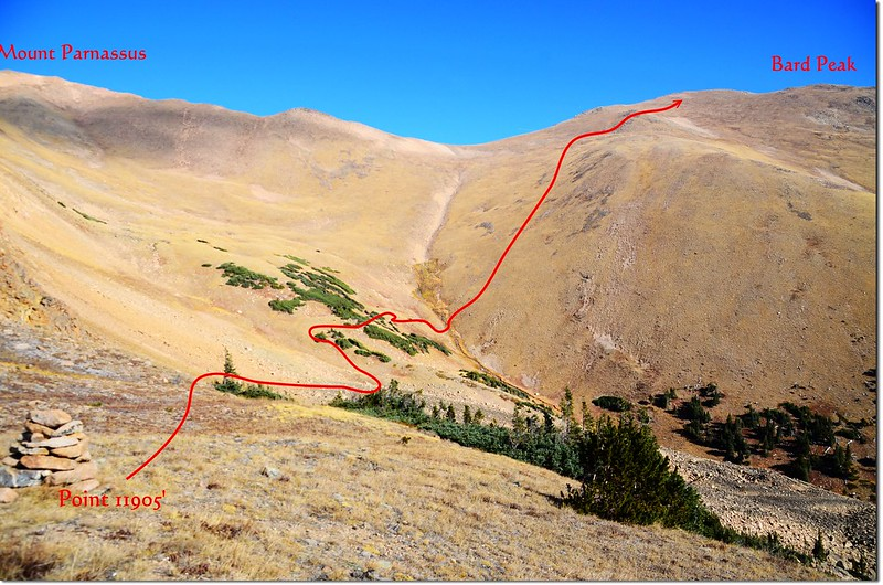 The route I up to Bard Peak 1