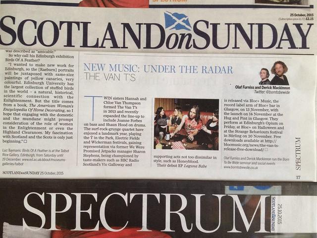 Olaf Furniss and Derick Mackinnon, Scotland On Sunday, Spectrum Magazine, 25 October 2015, The Van T's