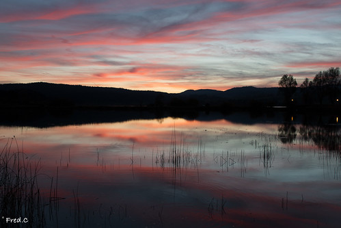 red sky sun lake rouge reflet jura feu doubs remoray