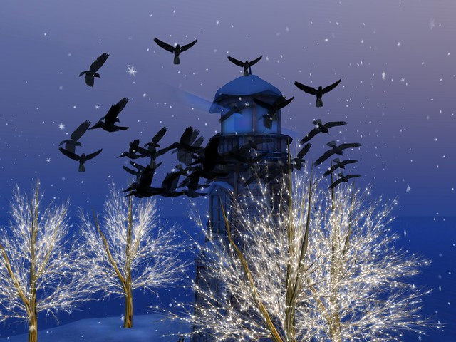 Winter Flakes - An Illumination of A Flocked Snowy Lighthouse