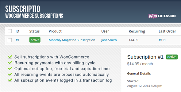 CodeCanyon Subscriptio v2.1.3 - WooCommerce Subscriptions