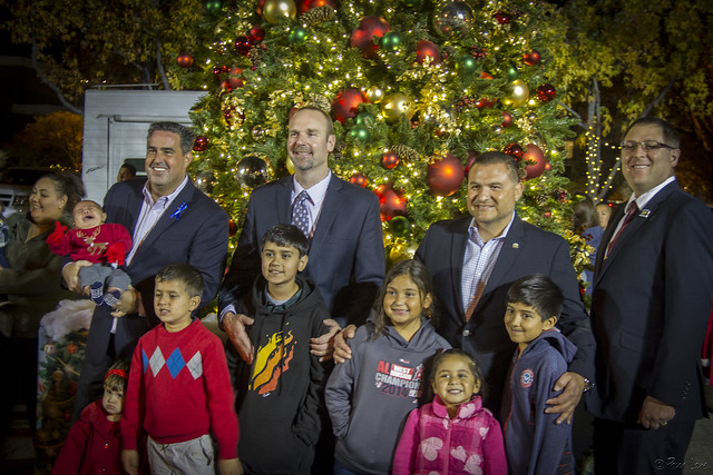 Downey City Councilmen at Christmas tree lighting