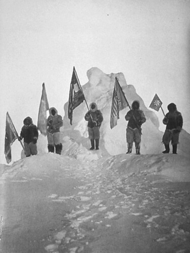 Peary_Sledge_Party_and_Flags_at_the_Pole