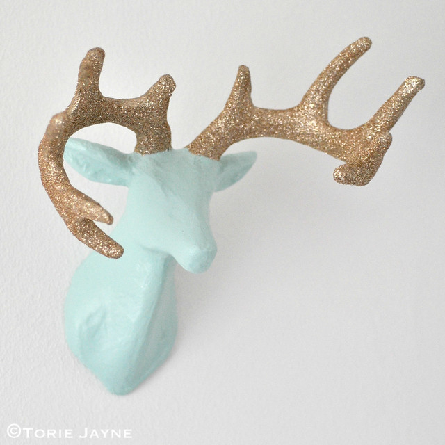 DIY Glittered antler stag head tutorial 2